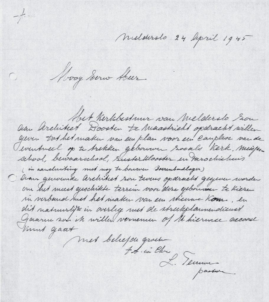 Brief van 24 april 1945 van Pastoor Teeuwen aan Bisdom Roermond.