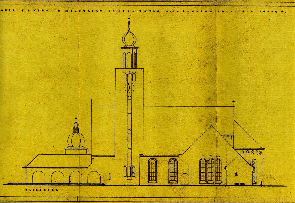 Bouwtekening van de kerk uit 1946, gezien vanuit het zuiden (huidige Lochtstraat).