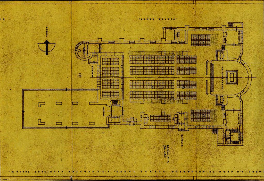 Bouwtekening van de kerk uit 1946, plattegrond.