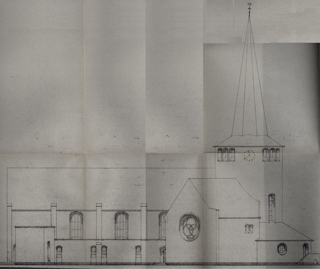 Bouwtekening van de kerk uit 1948, gezien vanuit het zuiden (huidige Lochtstraat).