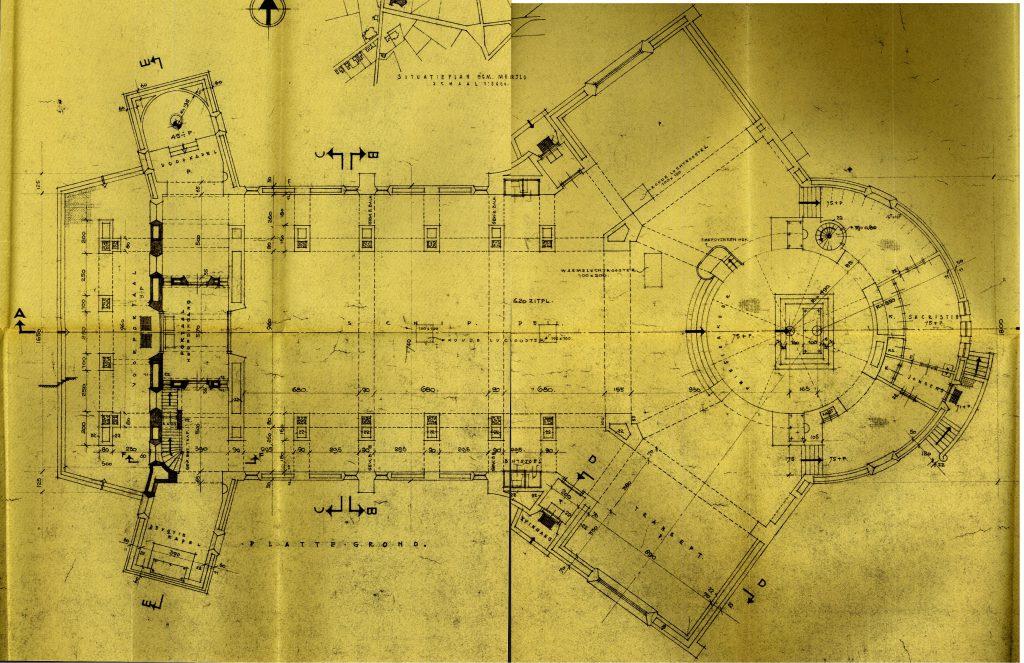 Foto 5: Bouwtekening van de kerk uit 1948, plattegrond.